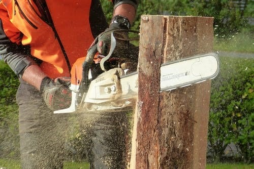 A person cutting a tree branch using a chainsaw
